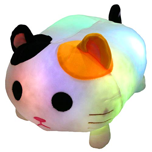 Houwsbaby Glowing Cat LED Stuffed Animal Colorful Night Light Soft Plush Chubby Toy Floppy Sofa Pillow Cushion Hugging Companion Cuddly Pet Kids Gift, White, 14 inches
