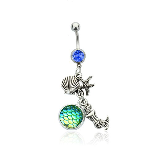 Charm Belly Ring Rings (Linsh Stainless Steel Mermaid Shell Belly Ring Navel Bars Body Piercing(Style 5))