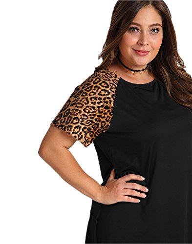 OEUVRE Women's Leopard Print Tee Shirt Short Sleeve Tunic Jersey Dress Black 16