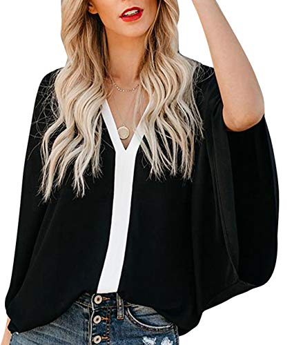 Shirts for Women Casual Summer Three Quarter Sleeve V Neck Contrast Color Tops Loose Fitting Blouses Black - Sleeve Three Quarter Top