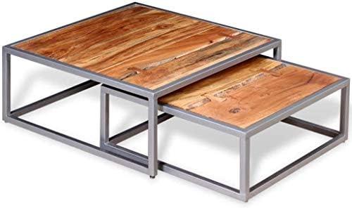 2020 EBTOOLS 2-delige set salontafel van acaciahout, salontafel woonkamertafel, 65 x 65 x 26 en 55 x 55 x 21 cm, bruin  yfnvRdC