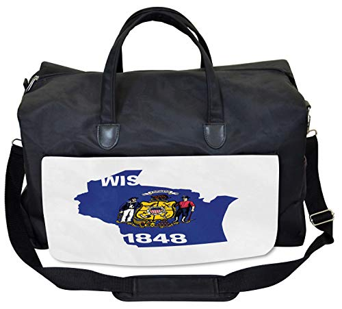 (Lunarable Wisconsin Gym Bag, Badger State Map and Flag, Large Weekender Carry-on)