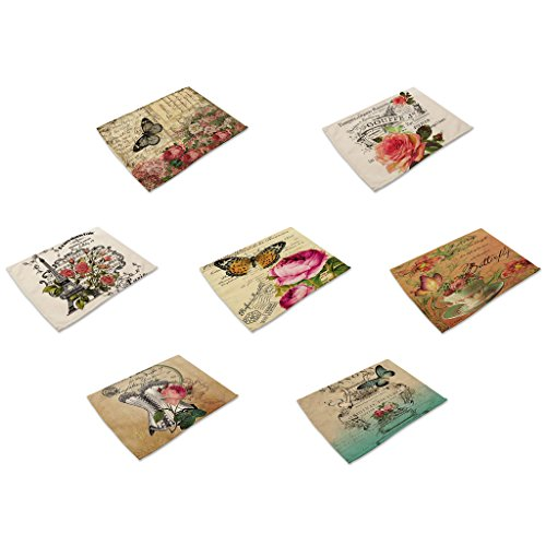 HACASO Set of 7 Vintage Style Butterfly With Flower Pattern Dining Table Mats Cotton Linen Placemats