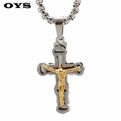 Generic 660_ European _and_ American _trade_ jewelry _supply_Jesus_ gold cross steel pendant necklace _influx_of_men 660 Cross