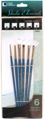 (Loew-Cornell 1024930 Studio Elements White Nylon Short Handle Round/Flat/Filbert/Fan Brush Set)