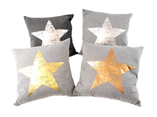 Dekokissen Zierkissen Couchkissen Sofakissen Motivkissen Sterndruck - mit Füllung kuschelig und weich - Größe: 45x45 cm - Anthrazit/Silber