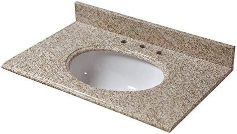CAHABA CAVT0187 31 x 22 Golden Hill Granite Vanity Top with oval bowl and 8 faucet spread