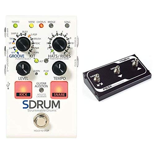 DigiTech SDRUM Auto drummer Guitar Pedal Stompbox sized Drum Machine with Automatic Accompaniment Creation Bundle with DigiTech FS3X Three Function Foot Switch