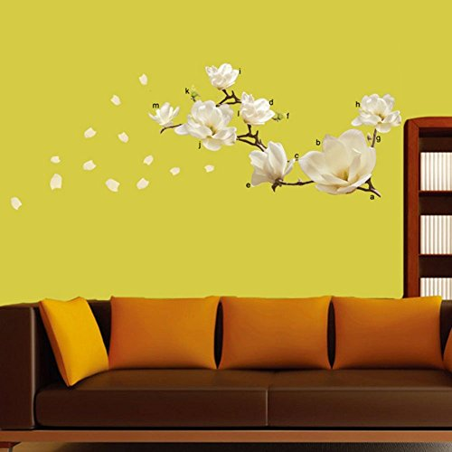 Funnytoday365 Living Bed Room Home Decoration Decor Modern Art Diy Removeable Magnolia Flower Wall Sticker