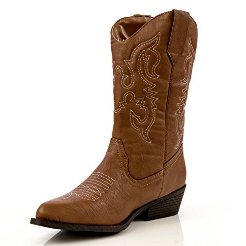 Charles Albert Donna Stile Western Ricamato Cowboy Boot Cognac