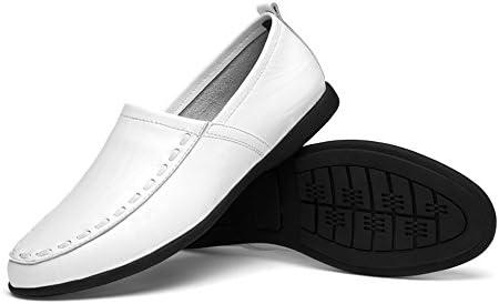 You Are Fashion メンズ本革モカシンスエードインソールファッションスリップオンカジュアルメンズローファー高品質金属装飾アップリケ本物の本革の靴男フラットシューズ (Color : White Breathable Style, サイズ : 28.5 CM)