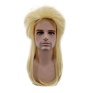 COSPLAZA 80s Heavy Metal Rocker Cosplay Wigs Long Straight Blonde Lt Yellow Spiked Mullet Hair for Male