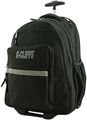 36b9ff857616 K-Cliffs Heavy Duty Rolling Backpack School Backpacks with Wheels Deluxe  Trolley Book Bag Wheeled Daypack Workbag Multiple Pockets Bookbag with  Safety ...