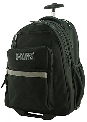 K-Cliffs Heavy Duty Rolling Backpack School Backpacks with Wheels Deluxe Trolley Book Bag Wheeled Daypack Workbag Multiple Pockets Bookbag with Safety Reflective Stripe Black (Dimensions Of A 32 Oz Gatorade Bottle)