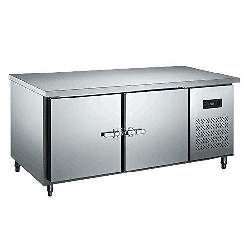 - 7.1 cf. 2-Door Stainless Steel Restaurant Kitchen Top Under-Counter Worktop Commercial Countertop Benchtop Refrigerator Freezer with Copper Coil Evaporator 200L Cabinet