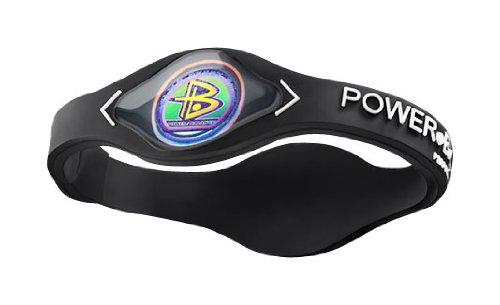 Power Balance Silicone Wristband Bracelet LARGE (Black with White -