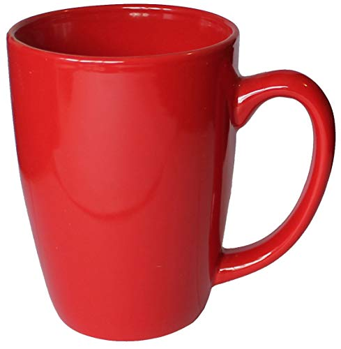 ITI Ceramic Endeavor Coffee Mugs with Pan Scraper, 14 Ounce (4-Pack, Red)