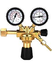 HUKOER Regulador de Gas, Reductor de presión Universal de argón y dióxido de Carbono con presión manométrica, Superficie de latón, Adecuado para Gases comunes comunes Argón / CO2 / Gas inerte