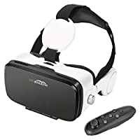 AOGUERBE VR Glasses, Virtual Reality Headset VR Goggles Box Bluetooth Controller for 3D Movies VR Games Compatible with iPhone X/8/8 Plus 7/7 Plus/6S/6 Samsung S8/S7 and Other 4-6 inch phones - White