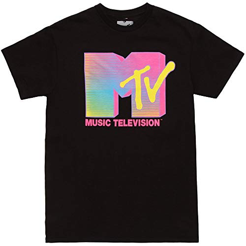 Fifth Sun MTV Fluorescent Logo Adult T-Shirt -Black (Large) ()