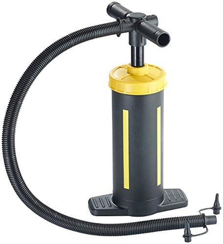 AGT Doppelhub-Hand-Luftpumpe, 2 x 1,5 Liter Pumpleistung, 3 Ventilaufsätze