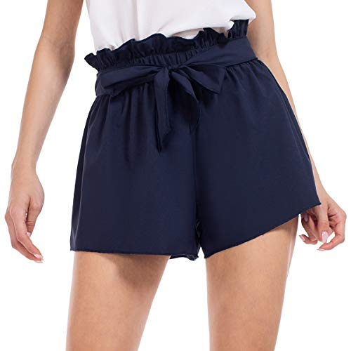 Brovollous Womens Shorts, Navy Blue Summer Shorts Casual Tie Bow Elastic Waist Shorts Quick Dry,M