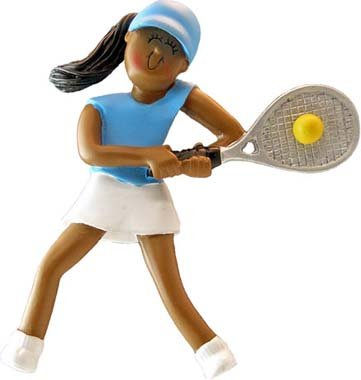 - 4105 Female African American Tennis Player-Christmas Ornament