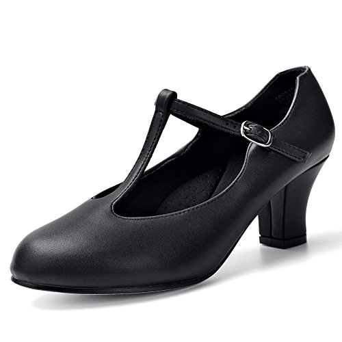 STELLE 2.5'' T Strap Character Dance Shoes for Women Big Kid (7.5M, Black)]()