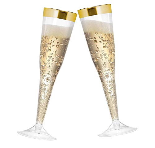 6.5 oz Disposable Gold Rim Champagne Flute-60 piece pack | Plastic Champagne Flutes for Toasting at Wedding, New Years and Fancy Birthday Parties | Reusable Clear Tumbler
