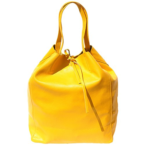 BOLSO TOTE SHOPPING EN CUERO GENUINO 9121 Amarillo