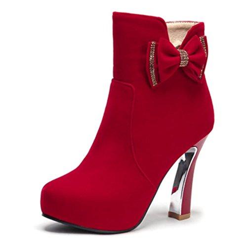 Rødt Billige Kuki Sko Høst Uformell Bow Kvinners Pustende Og Vinter Lys Kvinners Høye Hæler Støvler Stor gZ1nqw18H