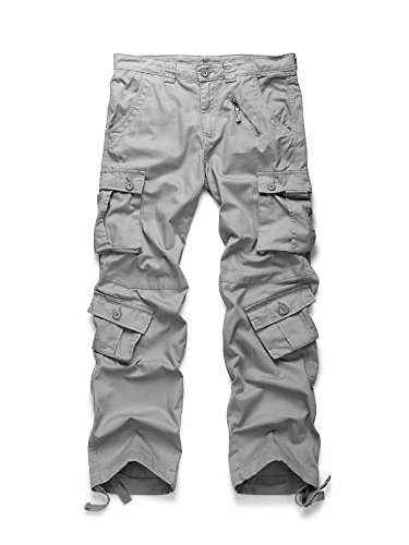 (OCHENTA Men's Cotton Military Cargo Pants, 8 Pockets Casual Work Combat Trousers #3357 Light Grey 34)