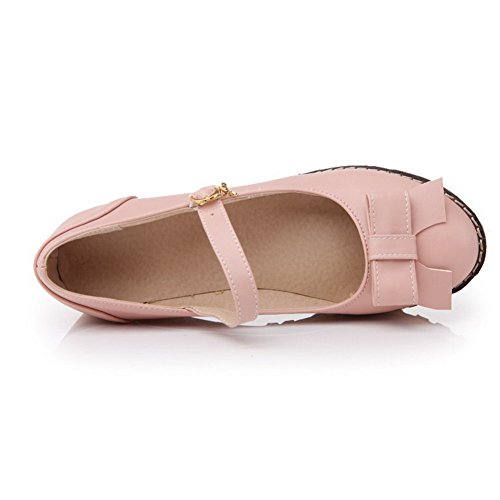Kitten Pink Buckle Toe Solid Womens Pumps Round Closed Heels Soft AllhqFashion Shoes Material x7ZIwqa6