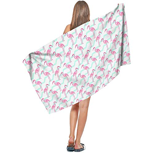 Sbortjkbb Indoor/Outdoor Soft Designer Extra Large Bath Towel Microfiber Quick Dry Absorbent Pink Flamingo Blue and White Waves Fashion Pool Towel 27.5