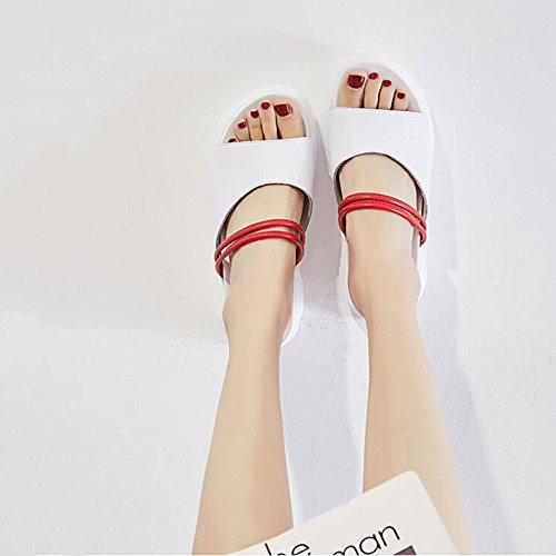 Sandals CJC Lady's Open Toe Chunky Wedge Heel Peep Toe Middle heel 5 cm (Size : EU37/UK4.5-5/CN37) ha4H6k7P