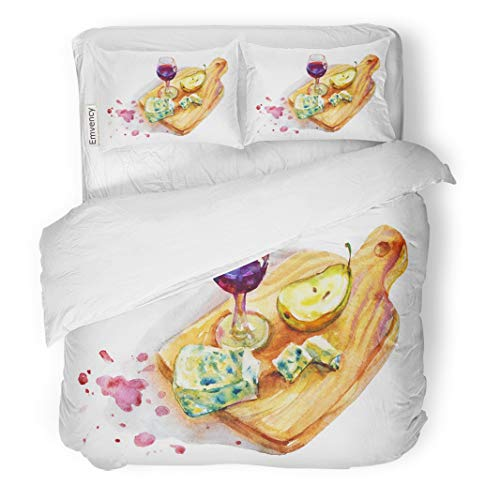 Tarolo Bedding Duvet Cover Set Green Food Vintage Watercolor Still Life in Rustic Wineglass Blue Cheese Ripe Pear on Wood Board Wine 3 Piece Twin 68