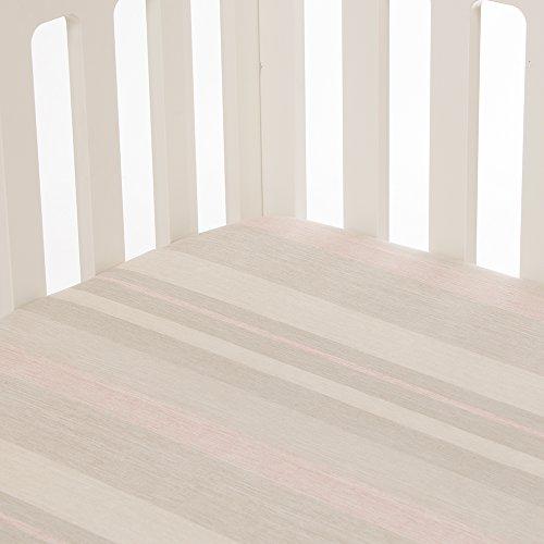 Glenna Jean Florence Stripe Fitted Sheet, Grey/Cream/Pink - Glenna Jean Stripes Sheets