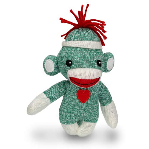 Plushland Sock Monkey Baby Doll, 6 Inches Puppet Comes with White Line Hat and Heart Logo in Front, Best Gift for Kids Expressing in Color of Love (Green ()