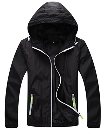 KLJR-Men Waterproof Front-Zip Lightweight Hoodie Jacket with UV Protection Black US 4XL
