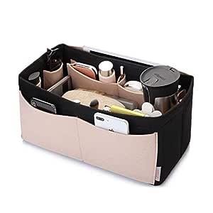 Felt Purse Organizer, Bag in Bag Organizer For Tote & Handbag, Speedy, Neverfull, Medium Large Extra Large(Medium, Beige and Black)