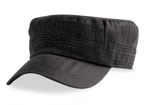 Harley-Davidson Skull Flat Top Cap, Schwarz 99423-09VM Herren Hat, Schwarz, L