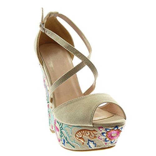 14 Cm Sandale Brodé Mode Femme Chaussure Beige Talon Lanières Mule 5 Lanière Peep Compensé Plateforme Angkorly Fantaisie toe Cheville Croisées UaBq4xp4n