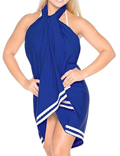 coprire rayon gonna sarong pizzo Blu pianura r774 pollici liscia pareo 78x39 LEELA vestito LA wqCf0pf