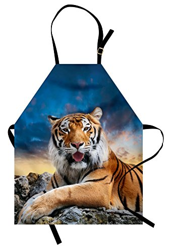 - Ambesonne Tiger Apron, Calm Siberian Large Cat with Beautiful Sunset Resting on a Boulder Relaxed Beast, Unisex Kitchen Bib Apron with Adjustable Neck for Cooking Baking Gardening, Pale Orange