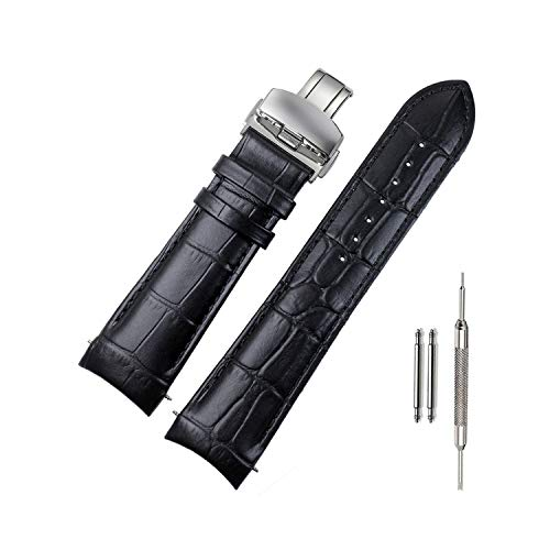 ViuiDueTure Calf Leather Watch Bands - Curved End - Choose Color - 22mm, 23mm & 24mm Watch Straps - Butterfly Deployant Clasp (23mm, Black) ()