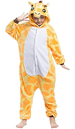 Women's Sleepwear Unisex Adult Children Pajamas One Piece Cosplay Giraffe Onesie Animal Costume (Size110 for 41-45