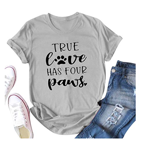 Winsummer Women T-Shirt True Love Has Four Paws Letter Print Tee Fashion Dog Lover's T-Shirts Short Sleeve Tops Blouse Gray (Dog Tube Lovers)