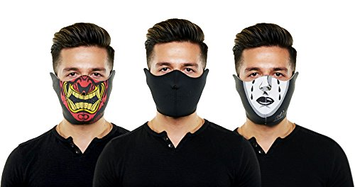 Neoprene Ski-Mask with Innovative Halloween Designs (3 pack, Black Tears, Warchild, and Plain Black)