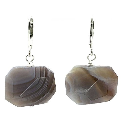 Organically Faceted Octagon Botswana Agate Sterling Silver Lever Back - Agate Agate Blue Earrings