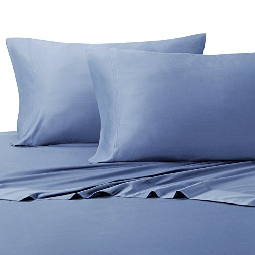 Royal Tradition 100 Percent Bamboo Bed Sheet Set, Top Split King, Solid Periwinkle, Super Soft and Cool Bamboo Viscose 4PC Sheets